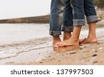 closeup image barefoot couple... | Shutterstock . vector #137997503