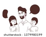father with children and speech ... | Shutterstock .eps vector #1379980199
