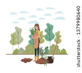 woman with tree to plant in... | Shutterstock .eps vector #1379980640