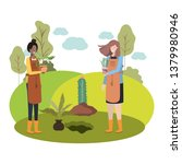 women with trees to plant in...   Shutterstock .eps vector #1379980946