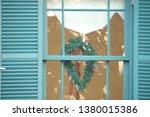 christmas wreath in japanese... | Shutterstock . vector #1380015386