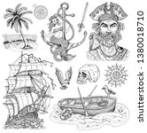 design set with pirate captain  ... | Shutterstock . vector #1380018710