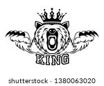 angry bear with a crown on his... | Shutterstock .eps vector #1380063020