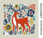 deer vector hand drawn... | Shutterstock .eps vector #1380067556