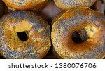 bun with poppy seeds . fresh... | Shutterstock . vector #1380076706