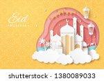 eid mubarak paper art design... | Shutterstock .eps vector #1380089033