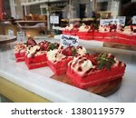 strawberry cake on a counter... | Shutterstock . vector #1380119579