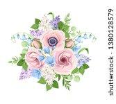 vector bouquet of pink  blue... | Shutterstock .eps vector #1380128579