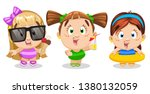 set of funny girls in swim... | Shutterstock .eps vector #1380132059