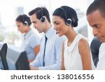 smiling call center employees... | Shutterstock . vector #138016556