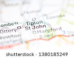 Tipton St. John. United Kingdom on a geography map