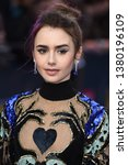 """Small photo of LONDON, UK. April 24, 2019: Lily Collins arriving for the """"Extremely Wicked, Shockingly Evil And Vile"""" premiere at the Curzon Mayfair, London. Picture: Steve Vas/Featureflash"""