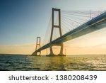suramadu bridge is landmark in surabaya city, indonesia