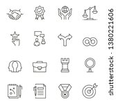 busines ethics line icon set