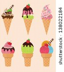 set of delicious ice cream with ... | Shutterstock .eps vector #138022184