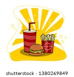 hamburger with cup of soda and... | Shutterstock .eps vector #1380269849