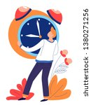 alarm clock and man time... | Shutterstock .eps vector #1380271256