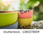 Four Wooden Bowls On Garden...