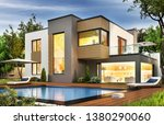 modern house with terrace and a ... | Shutterstock . vector #1380290060