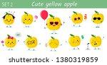 set of ten cute kawaii yellow... | Shutterstock . vector #1380319859