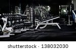 many black dumbbells in dark... | Shutterstock . vector #138032030