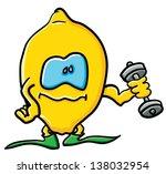 funny cartoon lemon on the... | Shutterstock .eps vector #138032954