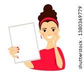 girl holding a sheet of paper.... | Shutterstock .eps vector #1380369779