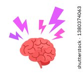 brain with thunderbolt flashes. ... | Shutterstock .eps vector #1380374063