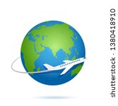 airplane fly around the planet... | Shutterstock .eps vector #1380418910