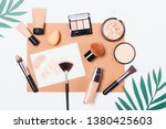 Stock photo summer cosmetics and tools to create smooth complexion and tan flat lay composition foundation 1380425603