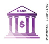 bank icon. flat color design....