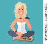 Vector Icon Girl Blonde Eats...