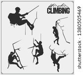 Set Of Mountain Climbing Labels ...
