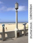 Monoculars and a light post overlooking the beach in Seasise OR.