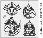 set of spartans emblems and... | Shutterstock .eps vector #1380599123