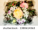 bouquet with yellow rose in... | Shutterstock . vector #1380614363