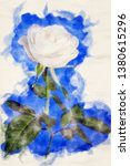 close up of white rose on a... | Shutterstock . vector #1380615296