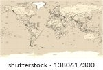 world political flat map with... | Shutterstock . vector #1380617300