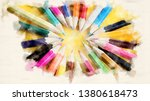 colored pencils in a circle on... | Shutterstock . vector #1380618473