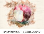 red wet apple with a bite on... | Shutterstock . vector #1380620549