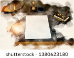 close up of desk with paper and ... | Shutterstock . vector #1380623180