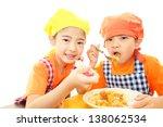 smiling girls eating meal