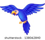 cute blue parrot cartoon flying | Shutterstock .eps vector #138062840