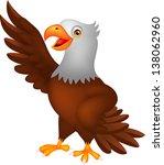 cute eagle cartoon waving | Shutterstock . vector #138062960
