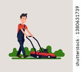 male gardener mowing lawn. cool ... | Shutterstock .eps vector #1380631739