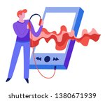 sound wave and music man with... | Shutterstock .eps vector #1380671939