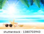 sunglass star fish and flower... | Shutterstock .eps vector #1380703943