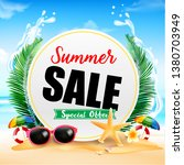 summer sale on white circle... | Shutterstock .eps vector #1380703949