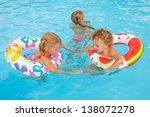 two little girls and little boy ... | Shutterstock . vector #138072278