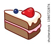 chocolate cake slice with white ... | Shutterstock .eps vector #1380722876